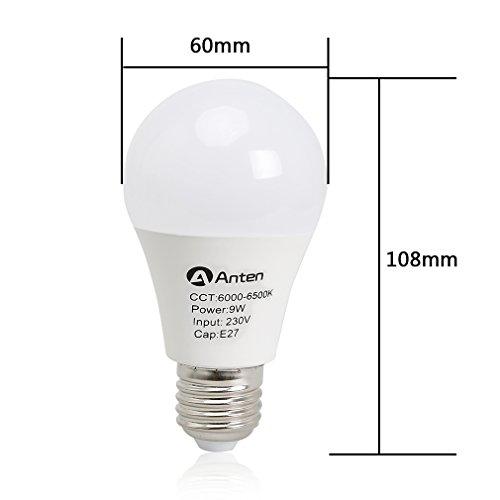 4er Anten E27 LED Lampen Glühbirne 9W, Kaltweiß 6000K LED Birne, 20pcs SMD2835 750lm LED Leuchtmittel - 2