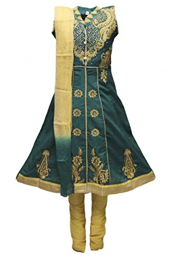 GCS3317 Dark Teal und Burlywood Mädchen Churidar Anzug Indian Bollywood Fancy Dress 34S (approx 9-10 years) (Kinder Kleid Indian)
