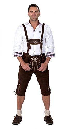 Almwerk Herren Trachten Lederhose Kniebund Modell Hipster, Farbe:Braun;Lederhose Größe Herren:48