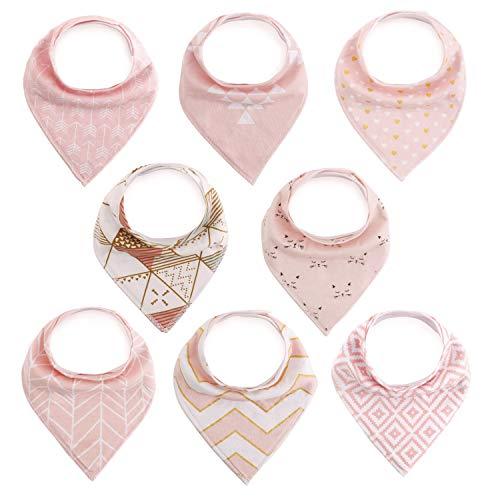 Produktbild FUTURE FOUNDER 8er Baby Dreieckstuch Mädchen Lätzchen rosa Saugfähig Weich Baumwolle Halstücher Spucktuch Mit Druckknöpfen Multifunctional Baby