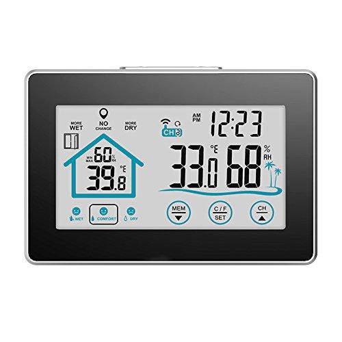 ROKOO Kabellose Wetterstation mit Vorhersage Temperatur Luftfeuchtigkeit Schlummerfunktion Thermometer Hygrometer Uhr
