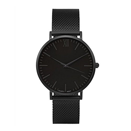Yezelend Herren Armbanduhr Einfach Mesh Metallarmband Casual Analoge Quarz Uhr Schwarz