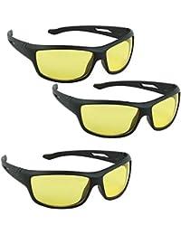 Synbus UV Protection Wrap Around Night Drive Unisex Sunglasses - Combo of 3