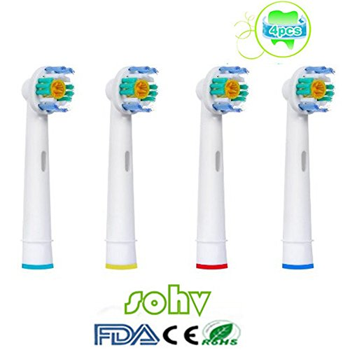 4 piezas (1x4) Sohv® Cabezales de recambio para cepillo de dientes eléctrico Oral-B 3D White (EB18-4). Plenamente compatibles con los modelos de cepillos de dientes eléctricos Oral-B Precision Vitality Clean, Vitality Floss Action, Vitality Sensitive Pro Vitality, White, Vitality Dual Clean, Vitality White, Clean and Professional Care, Triumph, Advance Power Series TriZone y