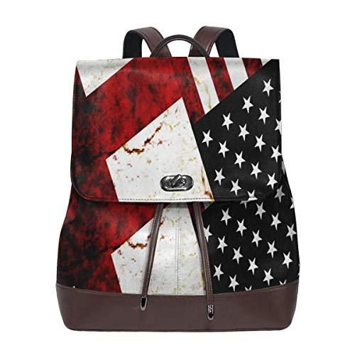 SGSKJ Rucksack Damen Flagge Englands USA, Leder Rucksack Damen 13 Inch Laptop Rucksack Frauen Leder Schultasche Casual Daypack Schulrucksäcke Tasche Schulranzen