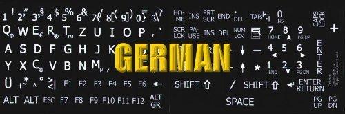 Deutsch Große Beschriftung (Großbuchstaben) Schwarz Tastaturaufkleber mit Weißer Buchstaben - passend für jede Tastatur - 3