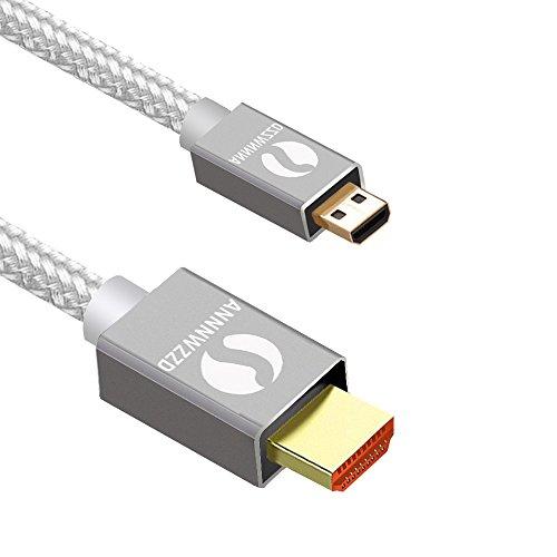 LinRui Cavo da Micro HDMI a HDMI,Micro HDMI su HDMI 3D 4Ksupporta per GoPro Hero 6, 5, Canon M5, 3m