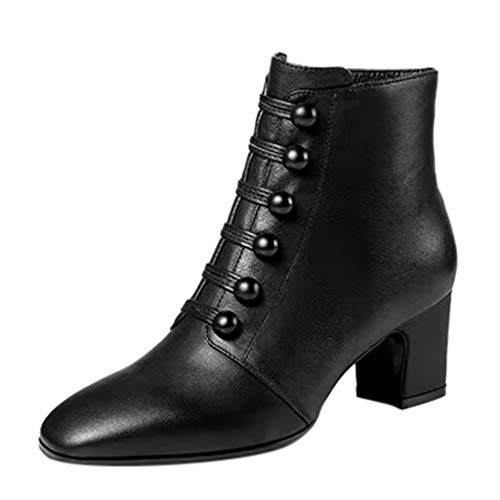NMERWT Damen Time to Be Ankle Bootie with Faux Button Detail Stiefelette Knopf Ankle Round Toe Zipper Nackte Stiefel Square Heel Short Booties - Große Kinder Usa-basketball-shorts