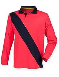 """Front Row Herren Rugby-Shirt Diagonal Stripe """"Weiße Perlen Traube Goldfarben verstellbar FR112,/Rot Marineblau, Größe S"""