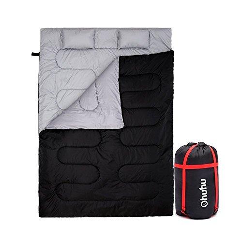 Ohuhu 86 'x 59'(218 x 150cm) Groß Doppelschlafsack mit 2 Gratis Kissen und eine Tragetasche, vier Doppel Zippern - angenehme Temperatur: 0 ° C / 32F ~ 10 ° C / 50F