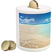 Ambesonne Beach Piggy Bank, Sunny Summer Seashore With Clear Sky Seashells Starfish Clouds Aquatic Picture, Printed Ceramic Coin Bank Money Box For Cash Saving, Aqua Cream Blue