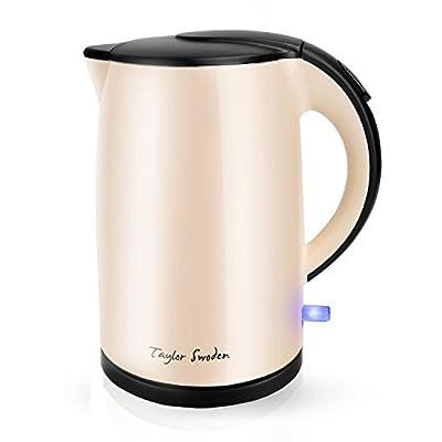 Taylor Swoden Rose- Bouilloire électrique | Design à double paroi Cool Touch Corps et Poignée | 1.7 L Intérieur Entièrement en Acier Inoxydable | 2200 Watt | arrêt automatique | Sans BPA | Beige