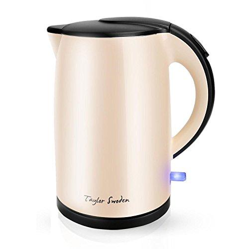 Taylor Swoden Rose – Bollitore elettrico a doppia parete | senza fili | 2200 Watt | Capacità d\'acqua 1,7 litri | Arresto automatico con protezione a secco | BPA Free | Beige
