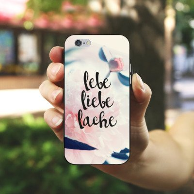 Apple iPhone X Silikon Hülle Case Schutzhülle Love Lebe Liebe Lache Blumen Silikon Case schwarz / weiß