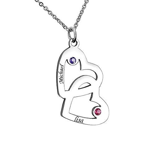 Familienname Verflochtene Herzen Halskette mit GEBURTSSTEIN - Gewohnheit mit jedem möglichem Namen gemacht! (2-Namen Silber)