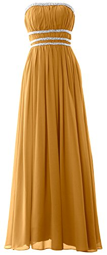 MACloth Women Strapless Chiffon Long Prom Dress Evening Formal Gown with Beading Gold