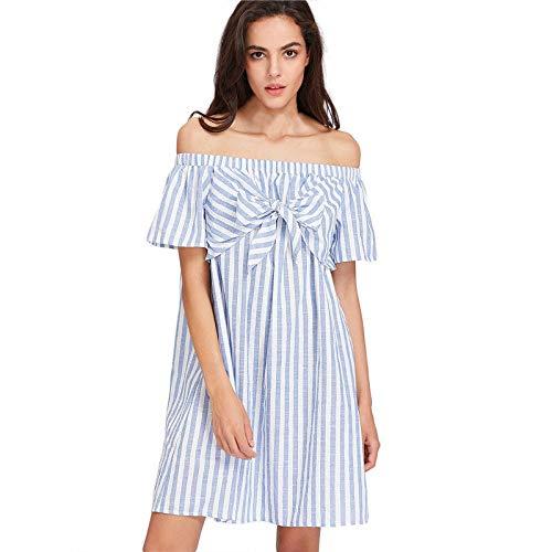 Kostüm Fashion Blogger - Ein Schulter gestreiftes Kleid, VRTYOC Sommer Beiläufige Bogen Weg Von Der Schulter Lose Party/Strand/Art und Weise Bloggers Kurz Kleid