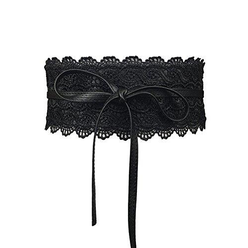 Beiguoxia - cintura larga in finta pelle, con decorazione in pizzo e fiocco decorativo, per corsetti e abiti da donna nero taglia unica