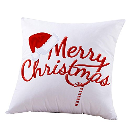 JANLYJoyeux Noël taies oreiller canapé lettre coussin couverture décoration à la maison (Multicolore F)