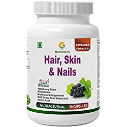 Nutrinelife Biotin 10000 mcg Hair Skin and Nail supplement with Multivitamin, Minerals, Grape seed extract and Amino acid supports hair growth, glowing skin and strong nail for men and women 60 Veg Capsules.