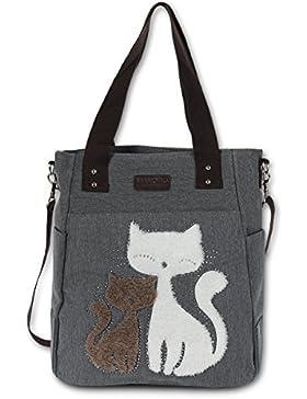 Henkeltasche Shopper grau Canvas Beuteltasche Hobo Bag Katzen Motiv Manoro® Vintage and Vogue OTK217K