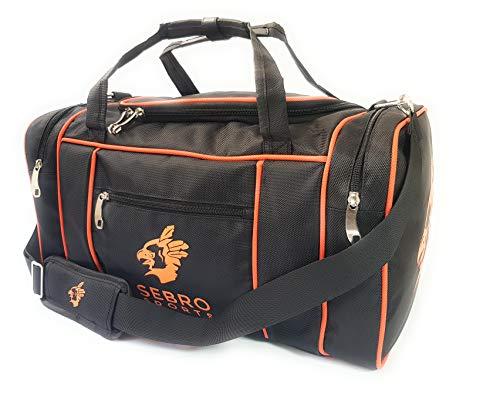 Praktische Sport-Tasche, Reise-Tasche für Damen und Herren | Trendige GYM BAG SCHWARZ / NEON-ORANGE mit vielen Fächer, Schultergürtel, Tragegurt für Fitness, Sport und Reisen | SEBRO SPORTS - 30 Liter NEON Design