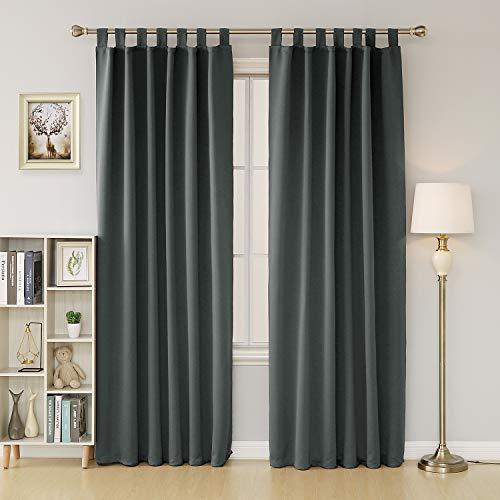 Deconovo tende oscuranti termiche isolanti con passanti per il soggiorno 140x290 cm grigio 2 pannelli