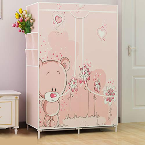 Armadio gx multifunzione guardaroba in tessuto semplice rosa con piccolo orsetto, armadietto pieghevole economico in acciaio salvaspazio moderno