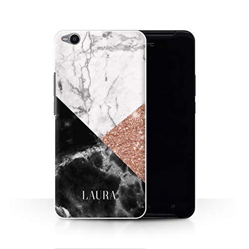 Personalisiert Individuell Roségold Glitter Marmor Hülle für HTC One X9 / Geometrische Stempel Design/Initiale/Name/Text Schutzhülle/Case/Etui