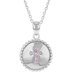 In Season Jewelry - Filles - Croix Pendentif Collier - Argent 925/1000 - Rose Zircone Cubique - Médaille - 45 cm