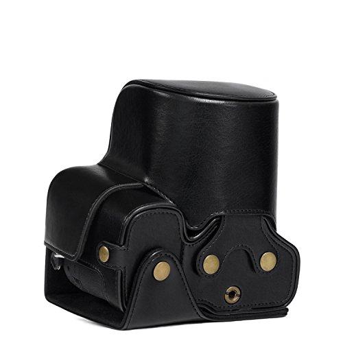MegaGear Sony Cyber-Shot DSC-RX10 IV, DSC-RX10 III Ever Ready Leder Kamera-Case mit Trageriemen und Batteriezugang schwarz MG760 Cyber-shot Soft Case