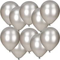 "10 Pack Of 12"" Silver Metallic Latex Balloons"