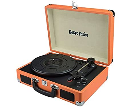 Retro Fusion ® Belt-Drive 3-Speed Portable Vinyl Turntable Case with Built in Speakers, Supports RCA Output / Headphone Jack / MP3 / Mobile Phones Music Playback, Orange