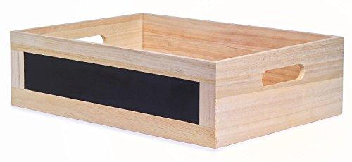 VBS Holz-Kiste Box 35,5x25,5x10cm Schublade Basteln mit Tafelfläche und Griffen Aufbewahrungsbox Allzweckkiste ohne Deckel unbemalt