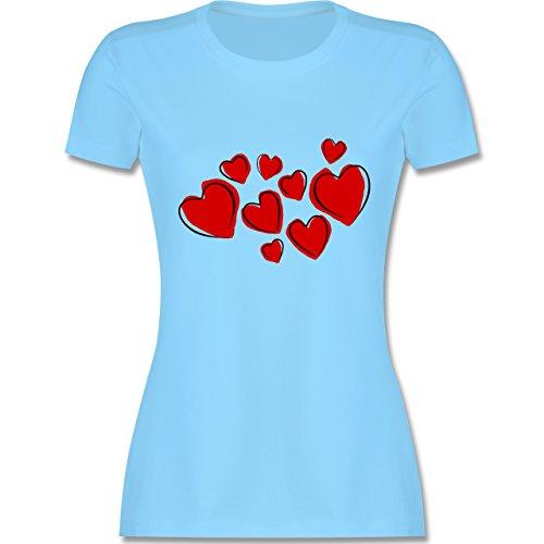 Romantisch - Herzen - tailliertes Premium T-Shirt mit Rundhalsausschnitt für Damen Hellblau