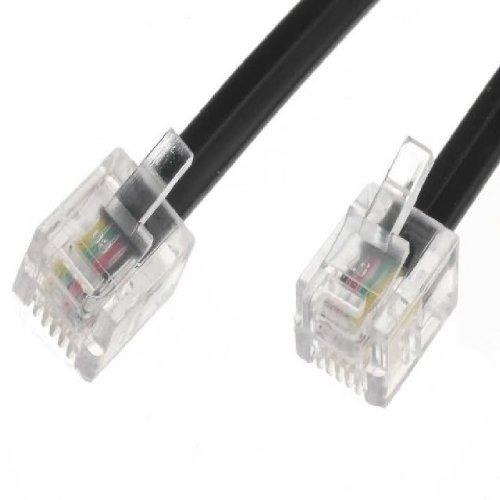 2m ADSL-Kabel - Premium-Qualität / vergoldete Kontaktstifte / High-Speed-Internet-Breitband / Router oder Modem auf RJ11 Telefondose oder Mikrofilter / schwarz