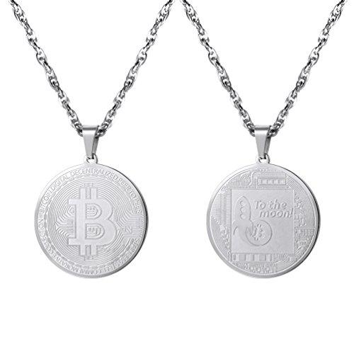 PROSTEEL Herren Anhänger Halskette Edelstahl Bitcoin Gedenkmünze BTC Physische Münze Kryptowährung Geschenk für Männer Frauen