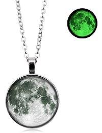 20bd427266ac Steerfr Collares Pendientes De La Luna Brillante - Collar De Luna Luminosa  De Piedra Fluorescente Brillante