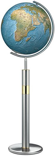 Columbus DUORAMA-Mappamondo luminoso Stand modello: 40cm di diametro. Sfera in vetro soffiato a bocca, base (Metallo Meridiana)