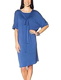Frauen Kleid runder Ausschnitt knielänge luftig lockerer Schnitt lange Ärmel