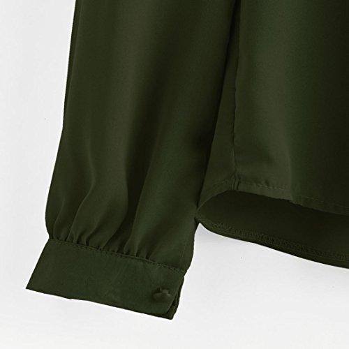 Ineternet Femmes plier lâche Casual manches longues en mousseline de soie chemise Tops Blouse Armée verte