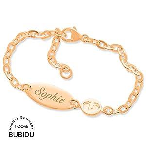 Baby ID Armband Mädchen rosegold Taufarmband mit Gravur ❤️ Babyarmband 925 Silber ❤️ Taufschmuck mit Namen Namensarmband…