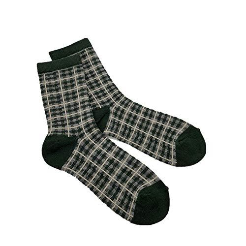 Kostüm Britische Paare - WXMDDN Quadratische Lange Rohrfrauensocken 10 Paare/Frauenrohrsocken/Rohrkalbsocken/Retro- beiläufige britische Windfarbe Plaid-Gezeiten-Socken 10 Paare,10 Paare Grün