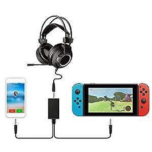 Audio 2-in-1 Konverter für Nintendo Switch, Audio Chat Adapter NS Headset Audio One-Two Konverter Line Converter für PG-9176 Switch