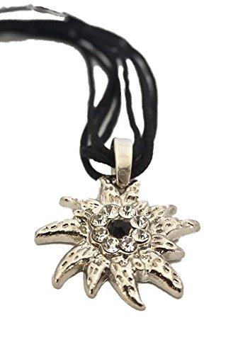 Trachtenkette glänzendes Edelweiss mit 4 Satinbändern in vielen Farben - Trachtenschmuck Halskette für Dirndl, Lederhose, Bluse (Schwarz)