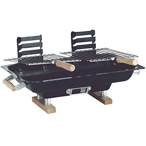 Hibachi BBQ Tischgrill aus Stahlblech, mit 2 Grillflächen, 47 x 26 cm: Klappgrill Camping Grill Holzkohlegrill Picknick