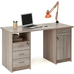 Escritorio mesa de estudio 135cm. Roble shannon, Para ordenador, despacho, habitación juvenil