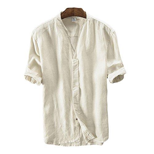 ICEGREY Herren 100% Leinen Kurzarm Hemd Sommerhemd V-Neck Freizeit Hemd Beige 42
