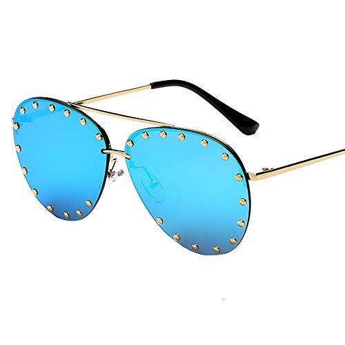 PFMY.DG Frau Brille Design Metallrahmen polarisierte koreanische Brille Sonnenbrillen Mode große Box große Sonnenbrille,Blue