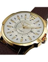 Reloj de hombre - CURREN Reloj de pulsera de acero inoxidable de cuero de imitacion de deporte de hombre de cuarzo marron